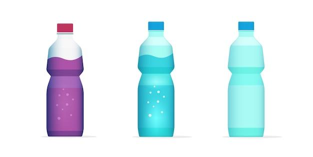 Botella de agua, jugo, bebida, bebida, plano, caricatura, lleno, y, vacío, icono