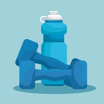 Botella de agua y pesas para ejercitar el equilibrio