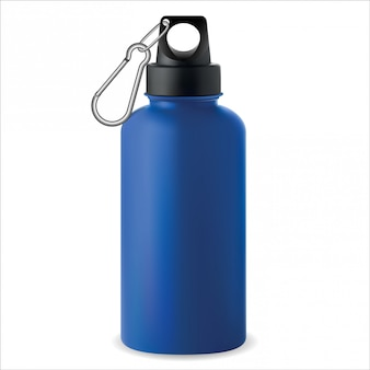 Botella de agua. termo de acero metálico. deporte. 3d
