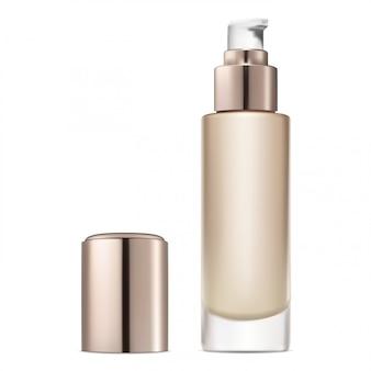Botella de base facial. crema cosmética líquida para el cuidado