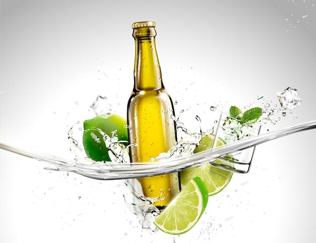 Botella de bebida con limón y mentas fluyendo en líquido transparente