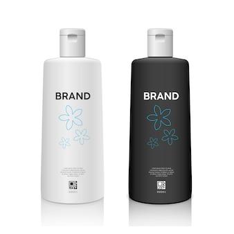 Botella en blanco y negro con productos de tapa de botella blanca colección de diseño de maqueta aislada