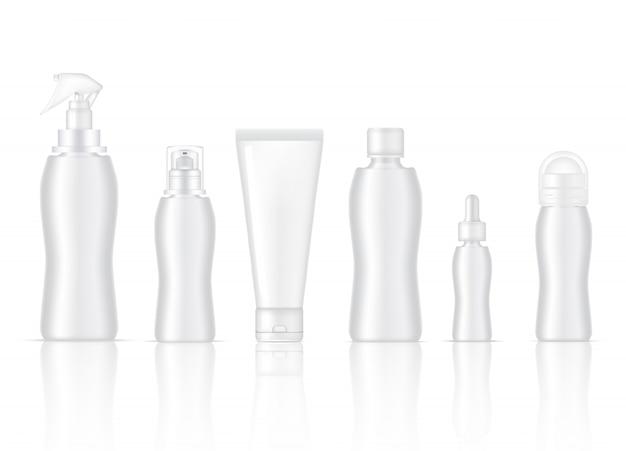 Botella en blanco realista producto para el cuidado de la piel aerosol, desodorante, espuma de jabón, suero gotero, loción de bomba y empaque de tubo de limpieza