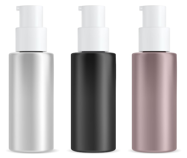Botella de bomba cosmética suero de belleza aislado en blanco plantilla de paquete de plástico de champú o crema envase de crema hidratante facial