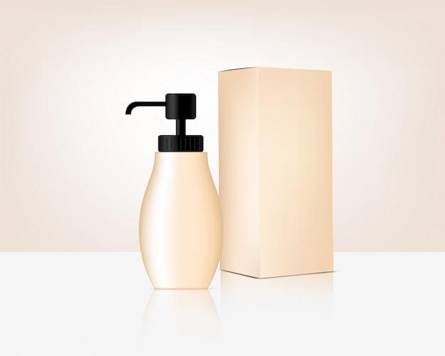 Botella de bomba maqueta cosmética orgánica realista y caja