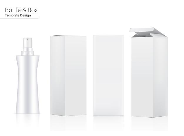 Botella de bomba mock up cosmético realista y caja tridimensional.