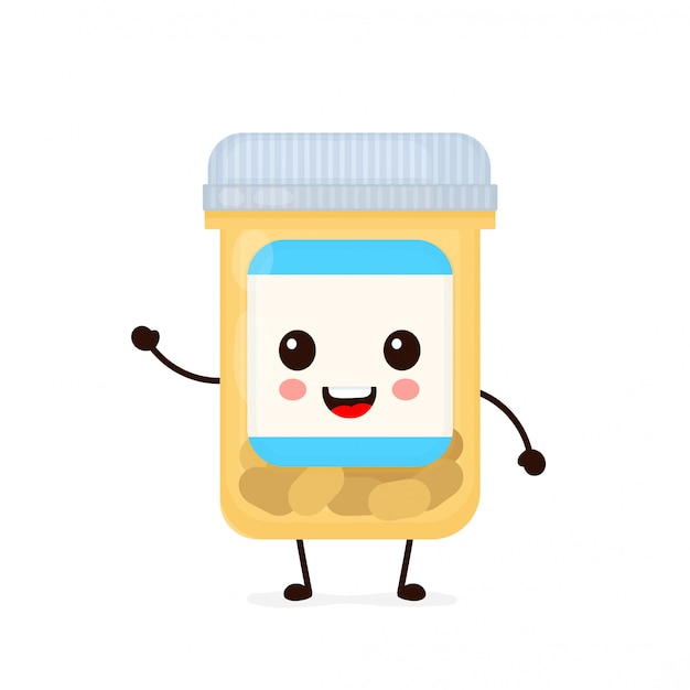 Botella de cápsula de píldora de medicina sonriente feliz linda. icono de ilustración de personaje de dibujos animados plana. aislado en blanco tableta, píldora, cápsula antibiótica, cuidado de la salud, drogas, medicina