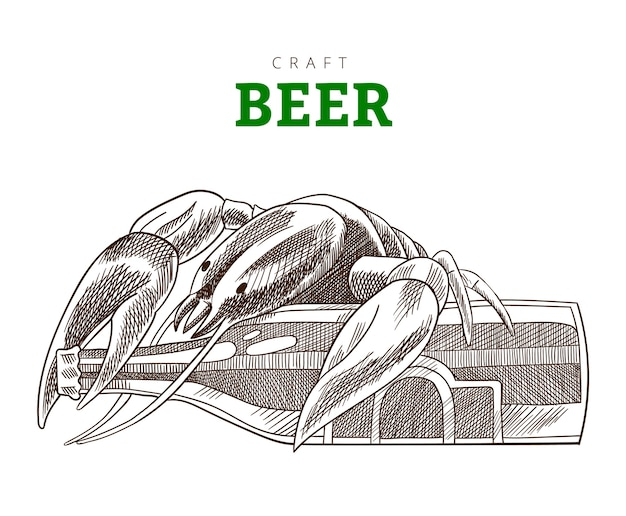 Botella de cerveza y cáncer sentado en una botella