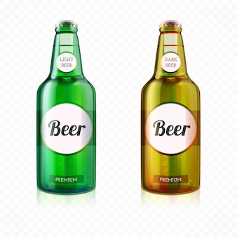 Botella de cerveza colorida realista