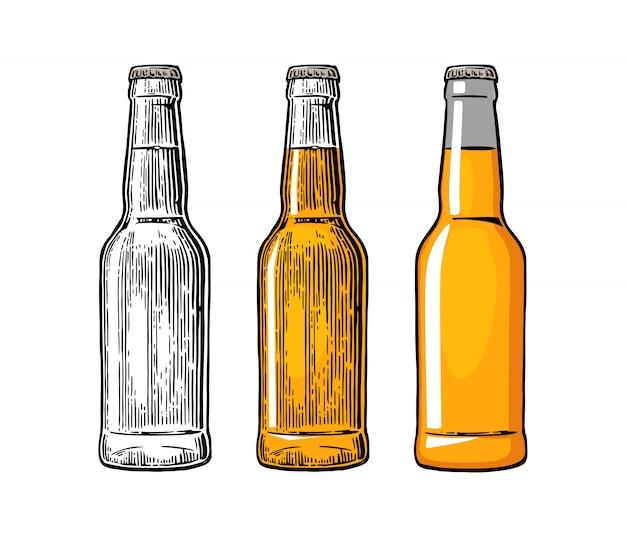 Botella de cerveza. grabado en color e ilustración plana