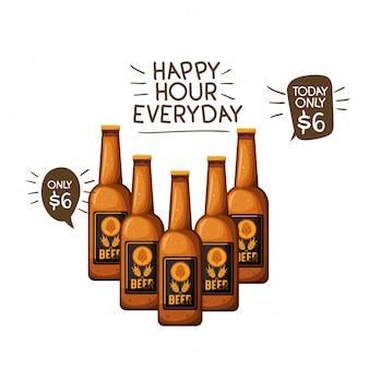 Botella de cerveza icono aislado