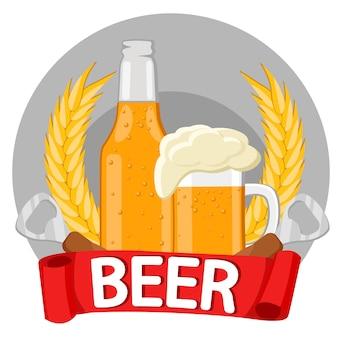 Una botella de cerveza, una jarra de cerveza, espiguillas, abrebotellas. sobre fondo blanco.