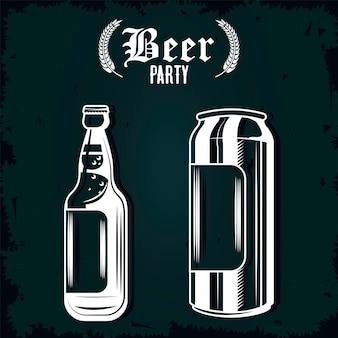 Botella de cerveza y lata de bebidas dibujadas iconos aislados, diseño de ilustraciones
