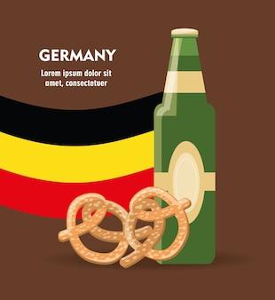 Botella de cerveza y pretzel con bandera de alemania