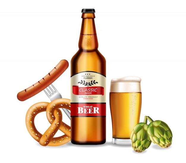 Botella de cerveza y pretzel fresco