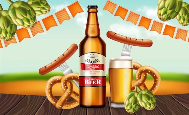 Botella de cerveza y pretzel