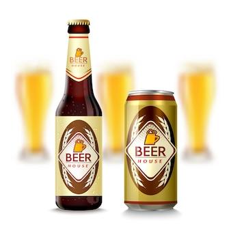 Botella de cerveza y puede