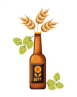 Botella de cerveza y trigo icono aislado