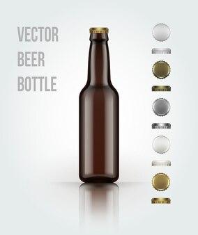 Botella de cerveza de vidrio en blanco para un nuevo diseño.