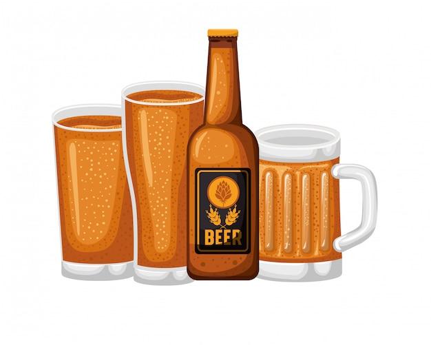 Botella de cerveza y vidrio icono aislado