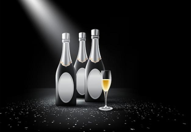 Botella de champagne, copas