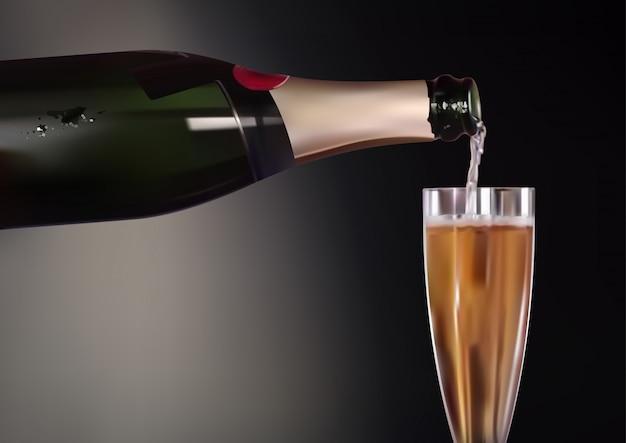 Botella de champagne y fondo de copa de vino
