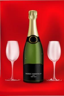 Botella de champagne con vasos vacíos
