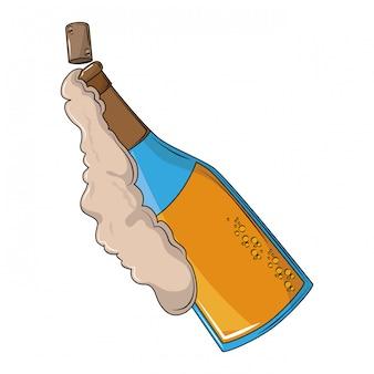 Botella de champán abierta con espuma.
