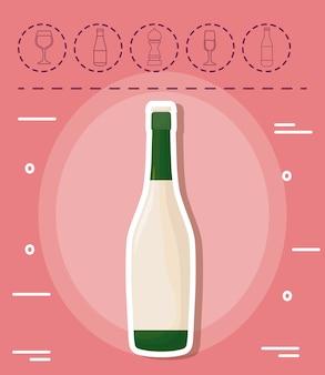 Botella de champán y picnic relacionados con iconos sobre fondo rosa, diseño colorido. ilustración vectorial