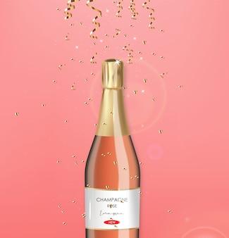 Botella de champán realista, champán rosado, conffeti de oro, fiesta, tarjeta de aniversario, feliz cumpleaños, fondo de celebración, feliz ilustración de san valentín