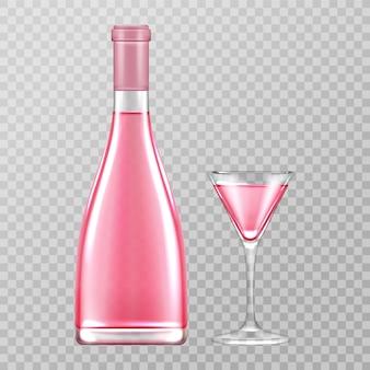 Botella de champán rosa y copa, vino rosado burbujeante