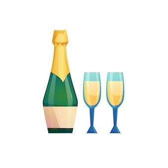 Botella de champán con vasos.