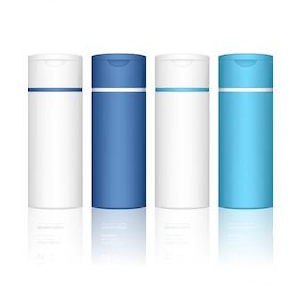 Botella de champú aislada. frasco cosmético para líquido, champú, espuma de baño. paquete de productos de belleza.