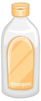 Botella de champú aislado sobre fondo blanco.