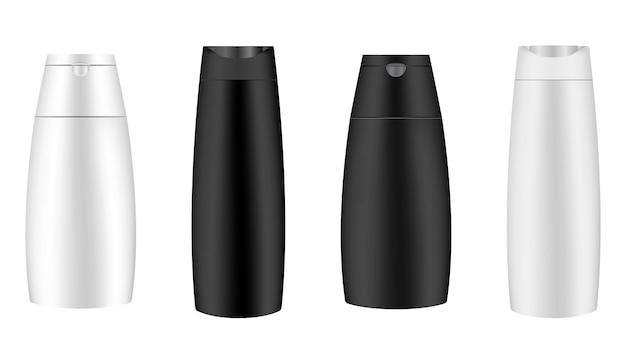 Botella de champú en blanco y negro, botella cosmética en blanco, aislado sobre fondo. plantilla de envase de producto cosmético de baño, leche líquida o envases de jabón. paquete de higiene personal