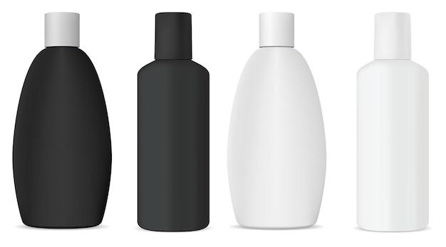 Botella de champú cosmético maqueta blanca, plantilla de diseño de vectores 3d. envase de producto de belleza aislado para gel, jabón líquido, plantilla de plástico realista. colección de baño
