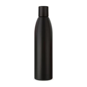 Botella de champú envase cosmético de plástico negro maqueta de tubo de loción para el cuidado del cabello