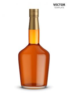 Botella de coñac, whisky o brandy aislada