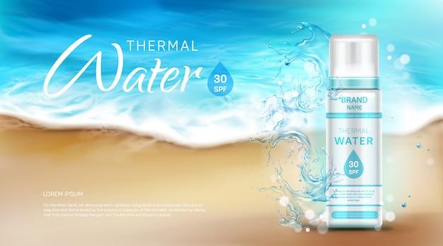 Botella cosmética de agua termal con banner publicitario spf