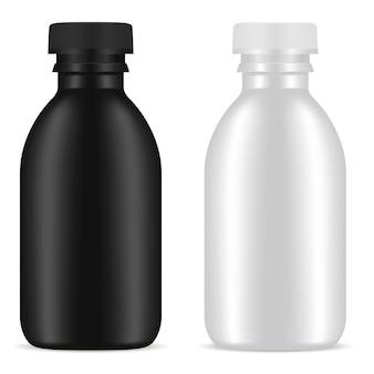 Botella cosmética en blanco producto conjunto. recipiente contenedor