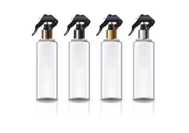 Botella cosmética cuadrada blanca con cabezal de rociado de colores para belleza o producto saludable. aislado sobre fondo blanco con sombra de reflexión. listo para usar para el diseño de paquetes. ilustración.