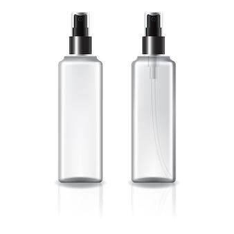 Botella cosmética cuadrada blanca y transparente con rociador negro.