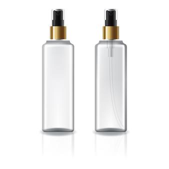 Botella cosmética cuadrada blanca y transparente con rociador de oro.
