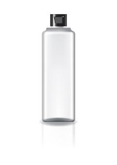 Botella cosmética cuadrada clara en blanco con tapa tapa negra.