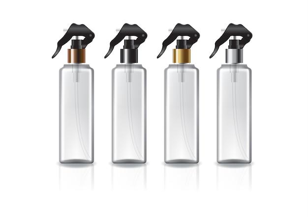 Botella cosmética cuadrada transparente con cabezal rociador de colores para productos de belleza o saludables. aislado sobre fondo blanco con sombra de reflexión. listo para usar para el diseño de paquetes. ilustración.