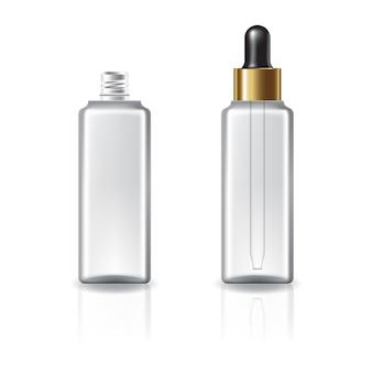 Botella cosmética cuadrada transparente con tapa cuentagotas y anillo de oro.