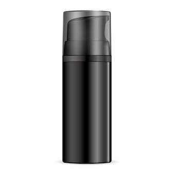 Botella cosmética humectante negra para hombre.