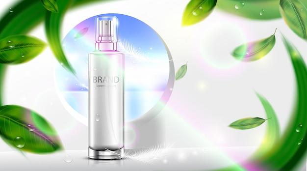 Botella cosmética de lujo paquete crema para el cuidado de la piel con playa de bokeh