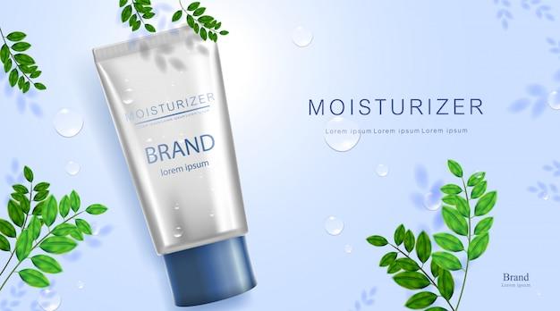 Botella cosmética de lujo paquete de crema para el cuidado de la piel, póster de productos cosméticos de belleza, con hojas de sombra en la pared y fondo de color azul