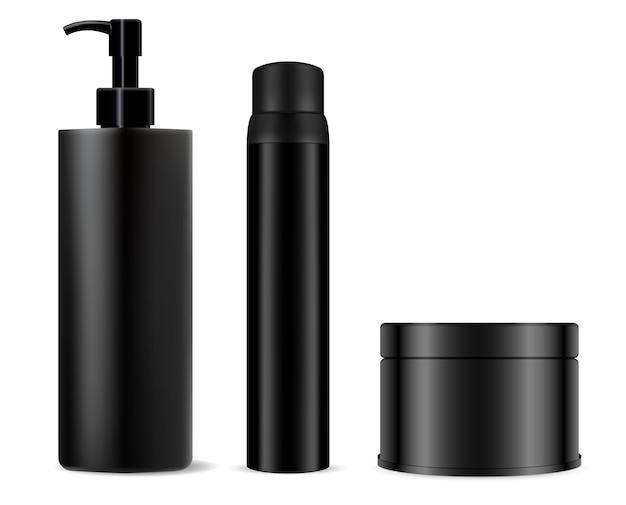 Botella cosmética negra. champú, paquete de spray. tarro de crema, gel negro para hombres en blanco de plástico.